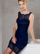 Dark Navy Column / Sheath Backless Bateau Short-length Lace Natural Chiffon Sleeveless Mother of the Bride Dress