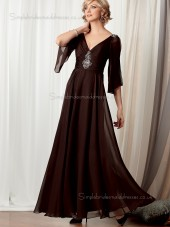 Brown V-neck Chiffon Beading Floor-length Half-Sleeve Backless A-line Empire Mother of the Bride Dress