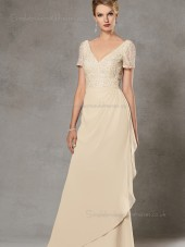 Champagne Beading Cap Sleeve A-line Backless Chiffon V-neck Floor-length Natural Mother of the Bride Dress