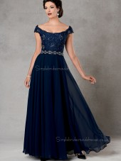 Ink Blue Chiffon Floor-length Beading Cap Sleeve Bateau Natural Zipper A-line Mother of the Bride Dress