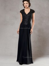 Dark Navy Cap Sleeve V-neck Beading Column / Sheath Zipper Floor-length Chiffon Natural Mother of the Bride Dress