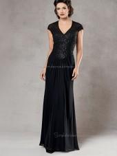 Dark Navy Cap Sleeve V-neck Beading Column / Sheath Zipper Floor-length Chiffon Natural Mother of the Bride Dress