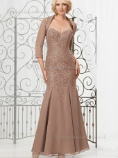 Brown Chiffon Floor-length Zipper Mermaid Natural Applique Sleeveless Sweetheart Mother of the Bride Dress