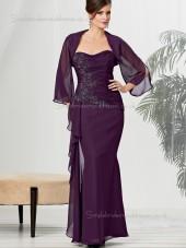 Burgundy Sleeve Applique Zipper Sweetheart Long Chiffon Floor-length Natural Mermaid Mother of the Bride Dress