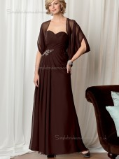 Grape Floor-length Chiffon Zipper A-line Sleeveless Sweetheart Natural Beading Mother of the Bride Dress