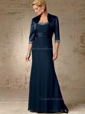 Ink Blue Chiffon A-line Beading Bateau Zipper Floor-length Half-Sleeve Empire Mother of the Bride Dress