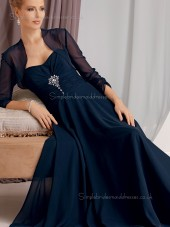 Ink Blue Zipper Chiffon Beading Sleeveless Empire Sweetheart A-line Sweep Mother of the Bride Dress