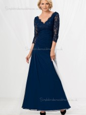 Dark Navy A-line Backless Floor-length Chiffon Lace V-neck Natural Half-Sleeve Mother of the Bride Dress
