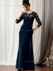 Dark Navy Long Sleeve Floor-length Zipper Round Chiffon Natural Column / Sheath Lace Mother of the Bride Dress