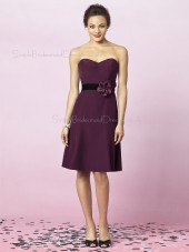 Natural Backless Sweetheart Knee-length Grape A-line Flowers Satin Sleeveless Bridesmaid Dress