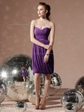 Sweetheart Purple Empire Chiffon Backless Sleeveless Ruched-Ruffles Column-Sheath Knee-length Bridesmaid Dress