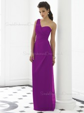 Chiffon Sleeveless Dropped Purple Ruched Floor-length One-Shoulder Column-Sheath Zipper-Back Bridesmaid Dress