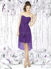 Empire Purple Short-length Sash-Ruched-Ruffles Sweetheart Sleeveless Chiffon Zipper-Back A-line Bridesmaid Dress