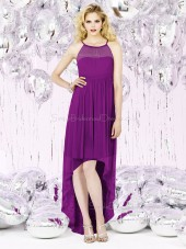 Sleeveless Chiffon Empire Purple Spaghetti Zipper-Back Floor-length Straps A-line Ruched-Ruffles Bridesmaid Dress