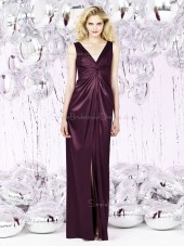 V-neck Floor-length Satin Empire Zipper-Back Ruched Grape Sleeveless Empire Bridesmaid Dress