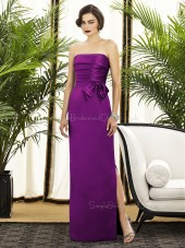 Floor-length Purple Sleeveless Natural Strapless Column-Sheath Ruched-Flowers Backless-Zipper-Back Satin Bridesmaid Dress