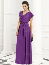 Zipper-Back Natural Purple Special Sash-Ruched A-line Short-Sleeve Chiffon Floor-length Bridesmaid Dress