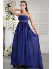 Roya-Blue Zipper Sheath Sleeveless Beading/Ruffles/Crystal/Ribbons Strapless Chiffon Empire Sweep Bridesmaid Dress