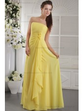Chiffon Daffodial Beading/Flowers/Side-Draped Natural Sheath Zipper Strapless Sweep Sleeveless Bridesmaid Dress