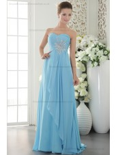 Sheath Sleeveless Chiffon Blue Sweep Natural Beading/Crystal/Ruffles Sweetheart Zipper Bridesmaid Dress