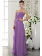 Sweep Sweetheart Natural Chiffon Crystal/Ruffles/Side-Draped Zipper Lilac Sleeveless Sheath Bridesmaid Dress