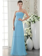 Chiffon Natural Strapless Ruffles Sleeveless Sweep Blue Sheath Zipper Bridesmaid Dress