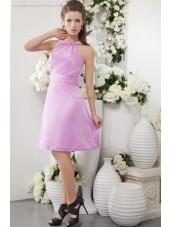 Sleeveless Scoop Sheath Satin Ruffles Zipper Natural Short-length Pink Bridesmaid Dress