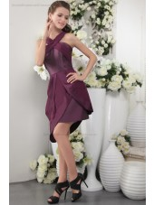 Burgundy/Grape Natural Scoop Chiffon/Satin Sheath Zipper Short-length Sleeveless Ruffles Bridesmaid Dress