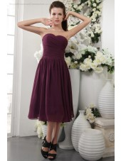 Sheath Ruffles/Draped Grape Zipper Natural Short-length Sleeveless Chiffon/Elastic-Silk-like-Satin Sweetheart Bridesmaid Dress