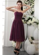 Sheath Ruffles/Draped Grape Zipper Natural Short-length Sleeveless Chiffon/Elastic-Silk-like-Satin Sweetheart Bridesmaid Dress