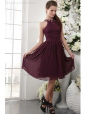 Natural Zipper Short-length Beading/Appliques/Ruffles/Draped Grape Chiffon/Elastic-Silk-like-Satin Sheath Sleeveless Scoop Bridesmaid Dress
