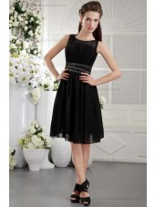 Short-length Black Natural Princess Beading/Ruffles/Draped Sleeveless Scoop Chiffon/Elastic-Silk-like-Satin Zipper Bridesmaid Dress
