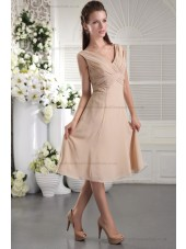 Sheath Natural Chiffon/Elastic-Silk-like-Satin Zipper Pearl-Pink Ruffles V-neck Sleeveless Short-length Bridesmaid Dress