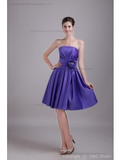 Satin Sleeveless Mini Grape Zipper Ruched/Flowers/Crystal/Draped Strapless A-line Natural Bridesmaid Dress