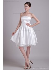 Sleeveless A-line Tulle/Satin Bow/Ruched/Draped Natural Ivory Zipper Strapless Mini Bridesmaid Dress