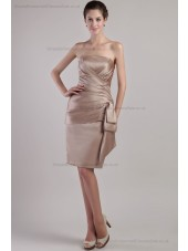 Sleeveless Natural Lace-up Sash Sheath Ruched Strapless Champagne Mini Satin Bridesmaid Dress