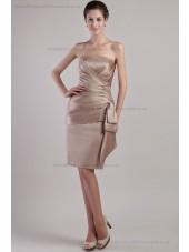 Sleeveless Natural Lace-up Sash Sheath Ruched Strapless Champagne Mini Satin Bridesmaid Dress