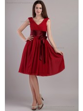 Red Mini A-line Bow/Draped Sleeveless V-neck Chiffon/Elastic-Silk-like-Satin Zipper Natural Bridesmaid Dress