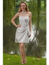 Natural Ruched Knee-Length Sheath Stain Zipper Silver Sweetheart Elastic Silk-like Sleeveless Bridesmaid Dress