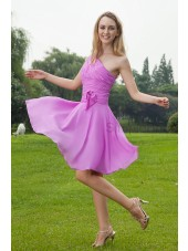 Ruched/Bow Natural Chiffon A-line Sleeveless Zipper One-Shoulder Lilac Knee-Length Bridesmaid Dress
