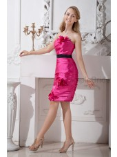 Knee-length Pink Strapless Natural Sheath Belt/Ruched/Flowers Sleeveless Elastic-Woven-Satin Zipper Bridesmaid Dress