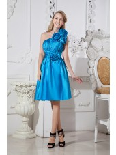 Sleeveless Blue One-Shoulder Knee-length Elastic-Woven-Satin Natural Zipper A-line Flowers/Ruched Bridesmaid Dress