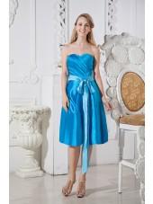 Elastic-Woven-Satin Sleeveless Knee-length A-line Zipper Natural Belt/Ruched Strapless/Sweetheart Blue Bridesmaid Dress