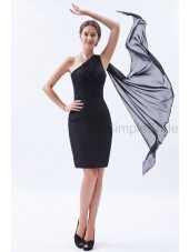Sheath Sleeveless Mini Ruched/Belt Chiffon Zipper Natural One-Shoulder Black Bridesmaid Dress