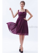 Natural Sleeveless Ruched/Beading A-line Grape Knee-length Chiffon Sweetheart Zipper Bridesmaid Dress