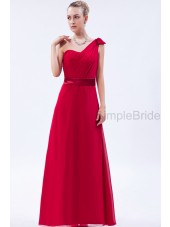 One-Shoulder/Sweetheart Natural Red Chiffon A-line Zipper Sleeveless Floor-length Ruched/Bow Bridesmaid Dress