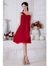 Zipper Knee-length One-Shoulder/Sweetheart Chiffon Natural Ruched Sleeveless A-line Burgundy Bridesmaid Dress