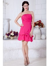 Ruched/Bow Zipper Chiffon/Satin Knee-length Strapless Bubble Fuchsia Sleeveless Natural Sheath Bridesmaid Dress