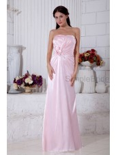 A-line Zipper Satin Sleeveless Pink Ruched/Flowers/Beading/Sequins Sweetheart Natural Floor-length Bridesmaid Dress