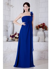 Empire Ruched/Flowers Sleeveless Zipper Chiffon Roya-Blue Floor-length One-Shoulder Natural Bridesmaid Dress
